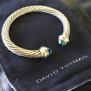 DAVID YURMAN 7mm Blue Topaz Classic Cable Bracelet
